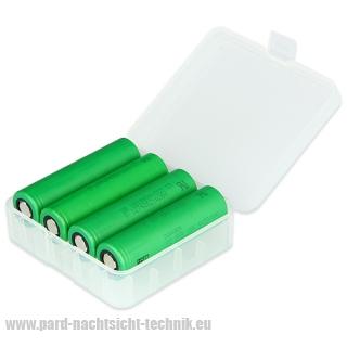 Akkubox Universal  transparent zur  Aufbewahrung  von  4 x 18650 Akku-Zellen Art.Nr. 4004