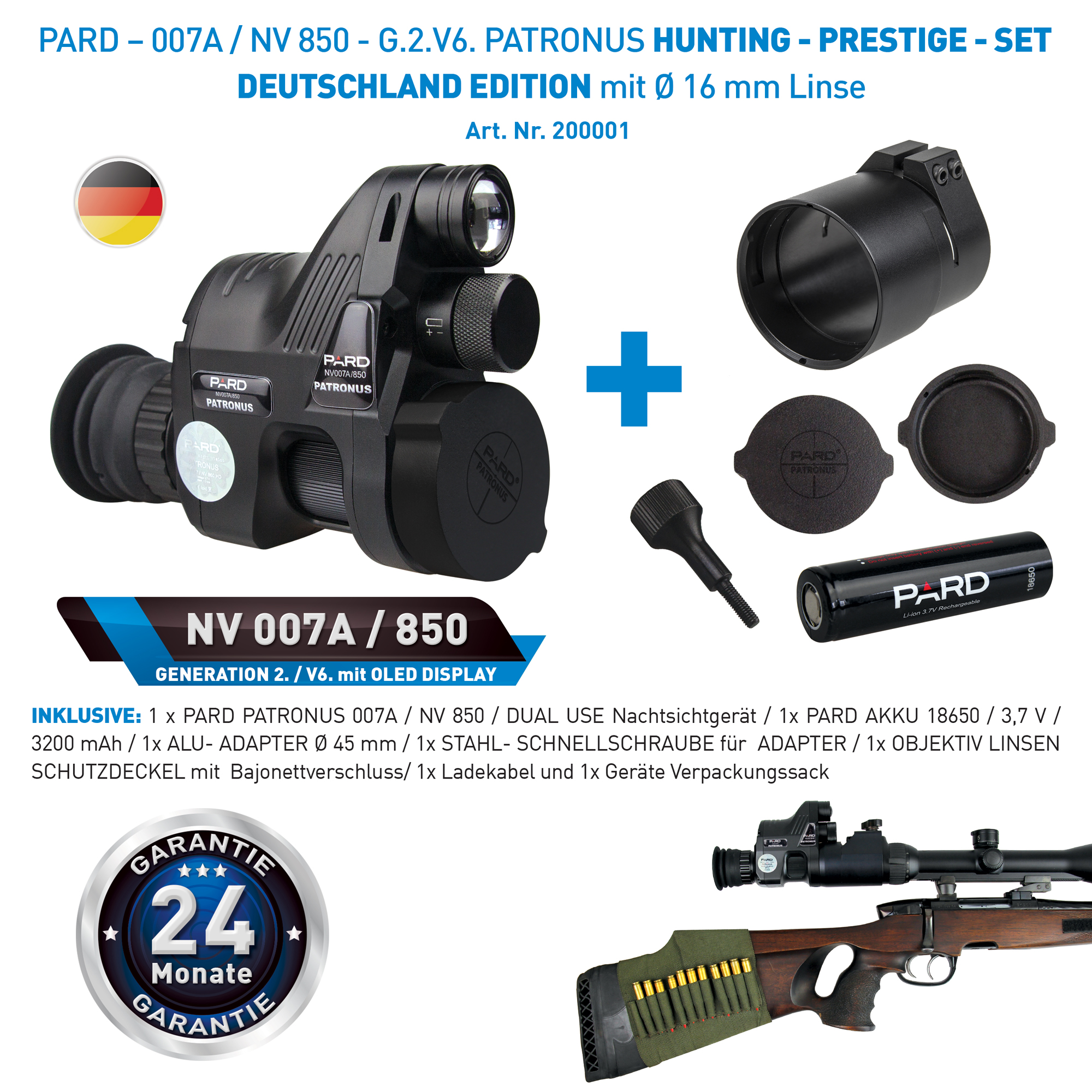 Pard Nachtsichtgerät NV007A 16mm Gen.2 inkl Montage für Zielfernrohre