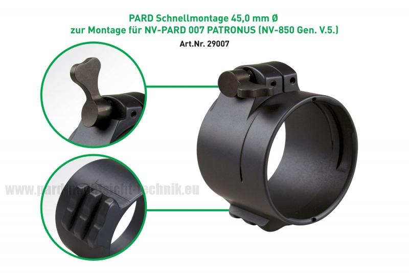 PARD Schnellmontage QR PRO mit Picat.Schiene  zur ZF Montage mit dem  PARD PATRONUS 007 und 007A / NV 850 lieferbar in Größe Ø 38,8 - 48,00 mm Art.Nr. 29007