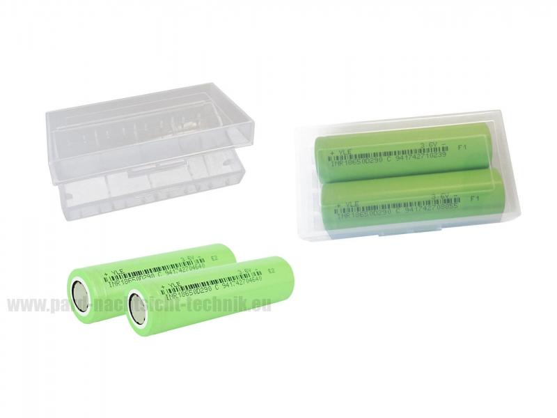 Akkubox Universal transparent inklusive  2 Stück Sanyo / Panasonic 18650 Akku - Zellen Art. Nr. 4001