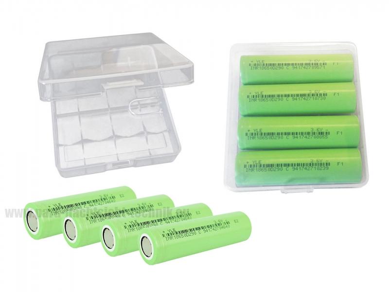 Akkubox Universal  transparent inklusive 4 Stück  Sanyo / Panasonic 18650 Akku-Zellen  Art.Nr. 4003