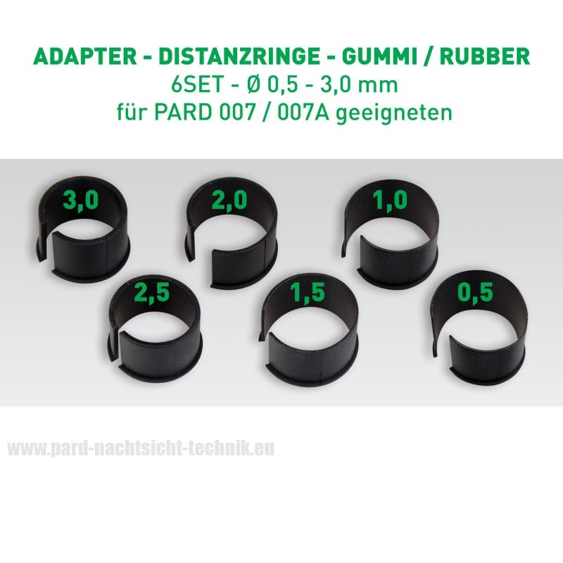 DISTANZRINGE - GUMMI  6er SET / Reduzier-Ringe für PARD 007 / 007 A – ALU ADAPTER  38-43mm Okular Ø von 0,5mm - 3mm  Art.Nr. 12005